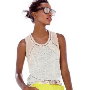J. Crew Grey Heathered Linen & Cream Lace Flow Top